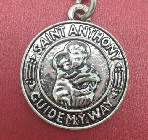 St Anthony Keyring keychain patron Saint lost articles Guide my way Medal Charm