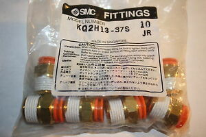 """BAG OF 10 SMC KQ2H13-37S MALE CONNECTOR 1//2/"""" NPT 1//2/"""" OD  TUBE NEW IN BAG"""