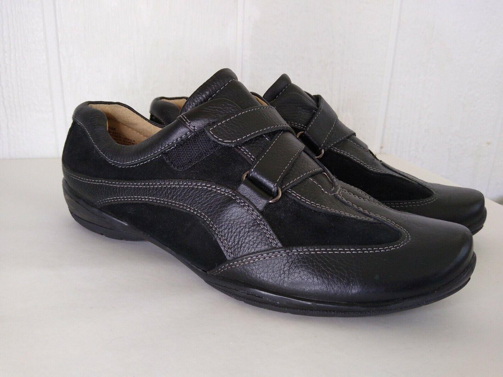 Strictly Comfort Womens Black Leather Adjustable Hook & Loop Sneaker Shoe 10 M