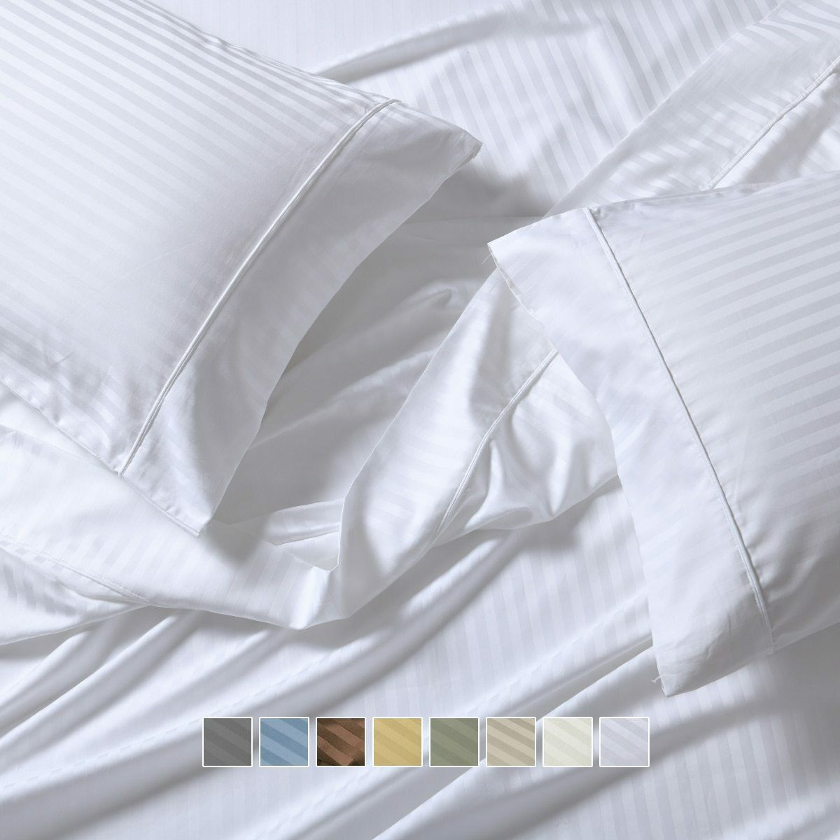 Adjustable Top Split King Luxury Damask Stripe Sheets 650 TC (Head Split)