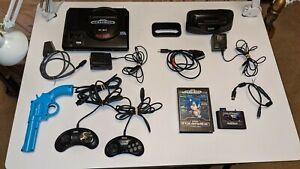 Lot: Sega Genesis - Mod:S-Video&Region,Everdrive Flash Cart,32X,SCART,2 Pads,Gun