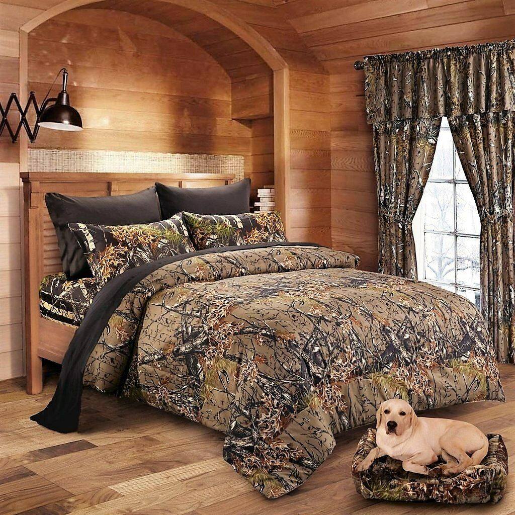 Off 7 Pc Camo Set Burgundy Queen Comforter Sheets Woods Camouflage For Sale Online Ebay