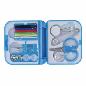 Travel Sewing Kit Thread Needles Mini Case Plastic Scissors Tape Pins Set