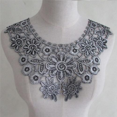 Hágalo usted mismo Craft Apliques de Encaje De Flores Tela Coser Adornos Adornos Collar del cuello