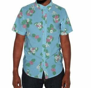 Rick-And-Morty-Men-039-s-Button-Down-Shirt-in-Blue-Hawaiian-Pink-Florals-Tropical-xM