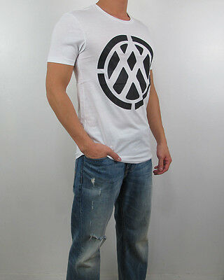 NWT AX Armani Exchange Men Slim Fit Negative Space Double Logo pima Tee T Shirt