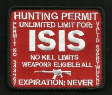 ISIS HUNTING PERMIT BIKER TACTICAL COMBAT BADGE MORALE MILITARY PATCH RED