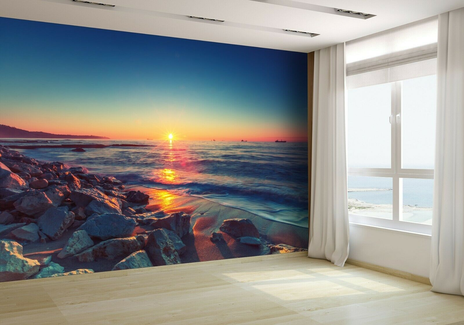 Beautiful Sunrise Over the Horizon Wallpaper Mural Photo 36801087 premium paper