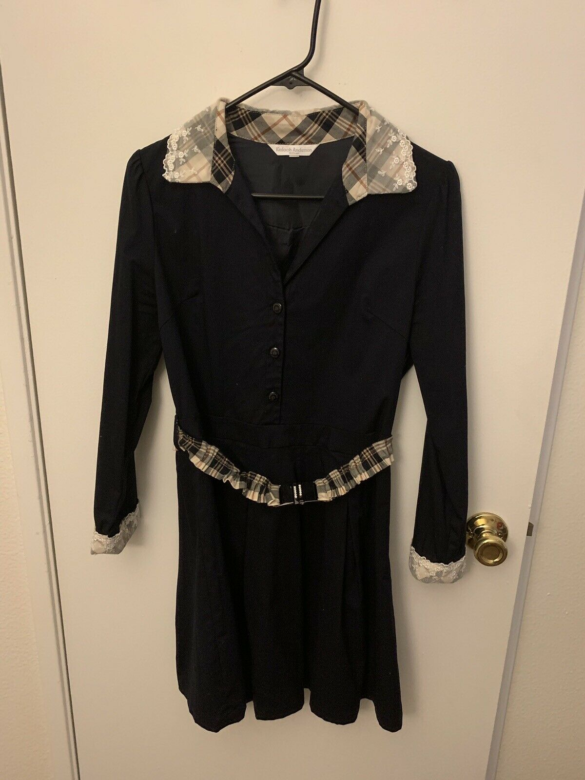 Kinloch anderson dress With Belt bluee Long Sleeves With Lace Size 38 Women