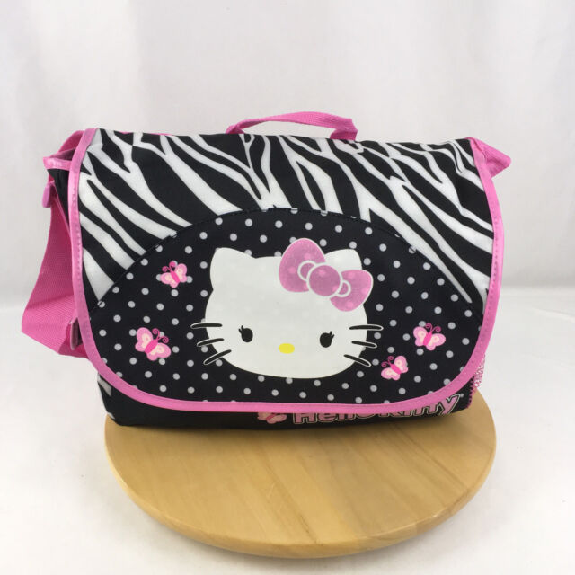 Sanrio Hello Kitty Zebra Messenger Book Bag Backpack  FLAW  back to school  NWOT 86bd012960