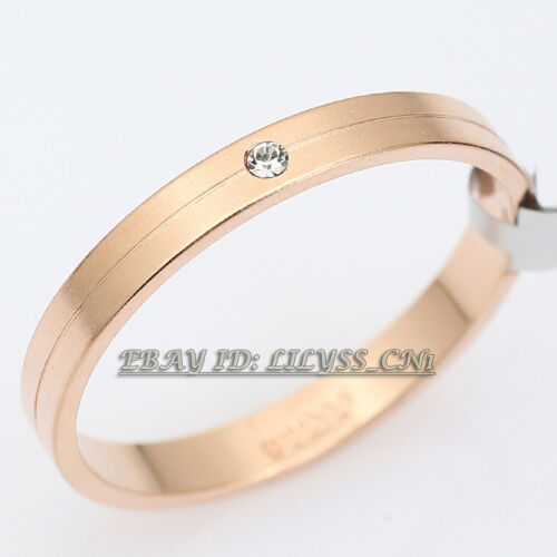 A1-R3115 Wedding Couple Band 3MM//5MM Ring Frosted Surface 18KGP CZ Size 5.5-9