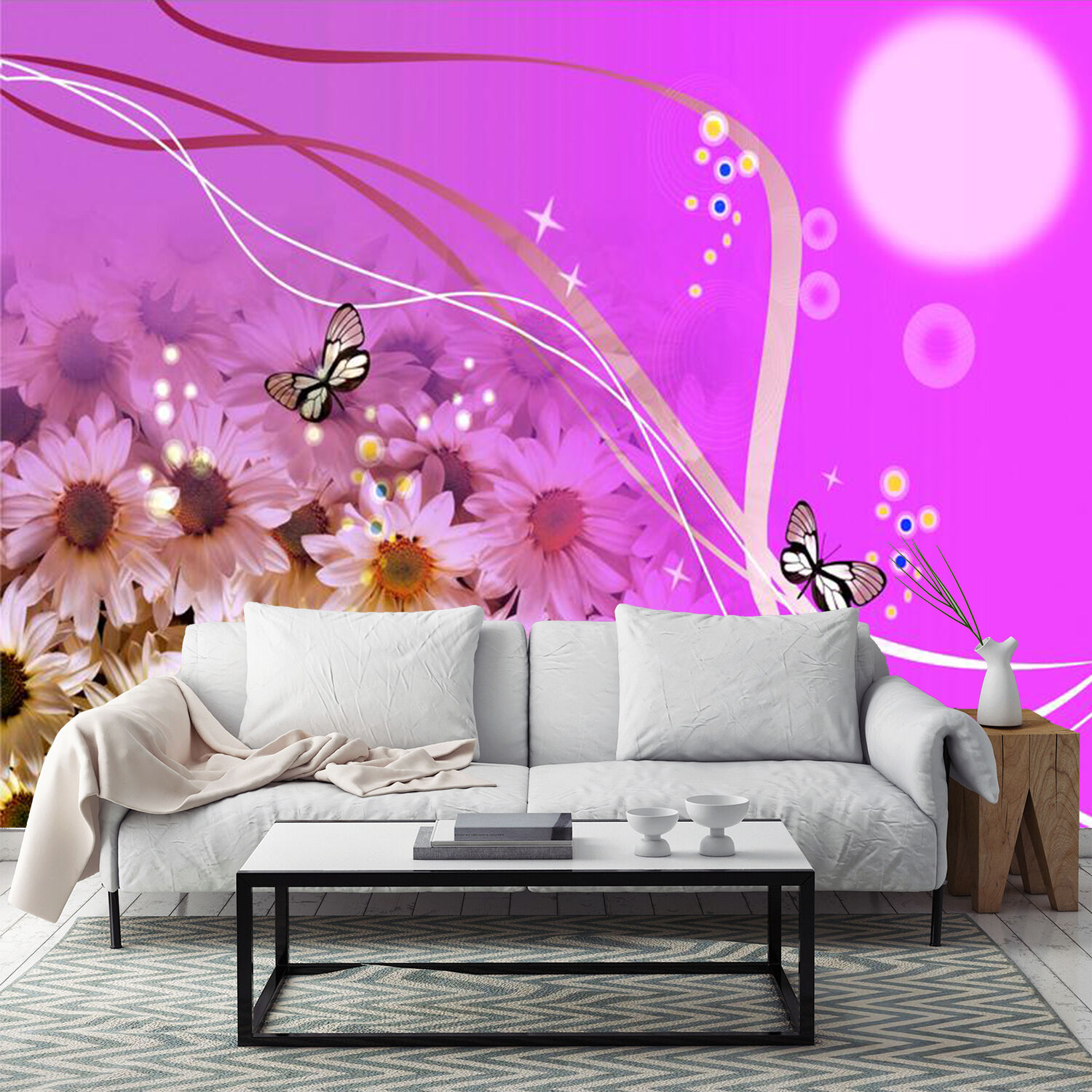 3D Flowers butterfly lila Wall Paper Print Decal Wall Deco Indoor wall Mural