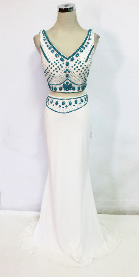 WINDSOR Weiß 2 Pieces Prom Party Evening Gown S -  NWT