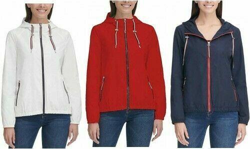 NWT Tommy Hilfiger Ladies Windbreaker Hooded Jacket S M L XL Pick