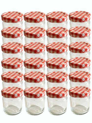 28 mini rundgläser 37 ml pots de confiture BOCAUX CONSERVE rouge à carreaux