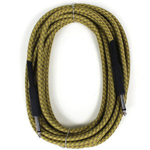 NEW-PERFEKTION-20-FT-VINTAGE-BRAIDED-TWEED-GUITAR-BASS-amp-INSTRUMENT-CABLE-CORD