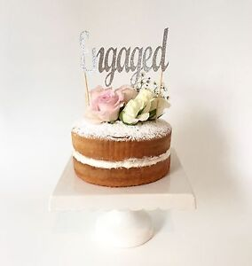 Image Is Loading 039 Engaged SILVER Glitter Cake Topper Engagement