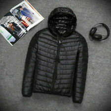 7bec82527716 Mens Warm Winter Quilted Puffer Ultralight Coat Padded Down Hooded Jacket  NEW UK