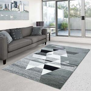 Details zu Teppich Play Flachflor modernes Design mit Dreiecken Grau Grün  Wohnzimmer NEU