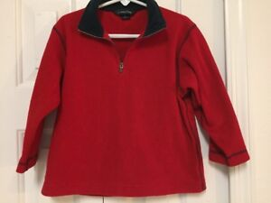Lands End Boys Lightweight Red Fleece Pullover Half Zip Jacket Sz ...