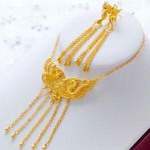 Royal-Necklace-Earrings-Phoenix-Dragon-Set-Women-Jewelry-24k-Yellow-Gold-Filled