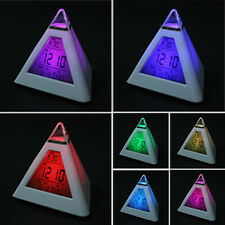 7-LED Changing Color Pyramid Digital LCD Alarm Desk Clock Thermometer New