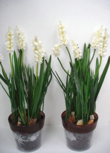 2 New 12in Potted White Lavender Bushes Artificial Silk Flowers Plants OFFER!