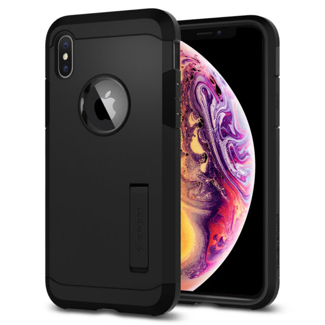 efc915e985 Spigen Auction Apple iPhone X 10 Tough Armor Black TPU Shockproof Cover Case