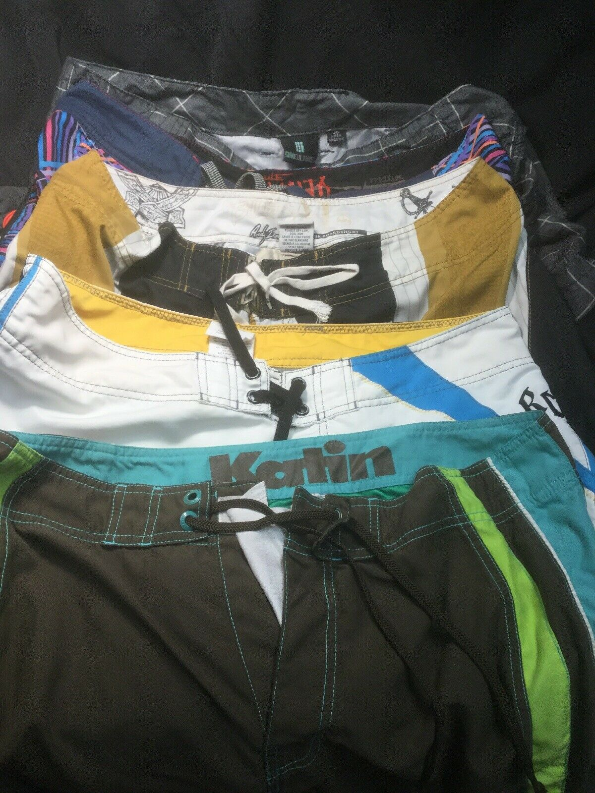 (5) Nice Pair Board Shorts Sz 36 Surfing Swiming All Great Brands
