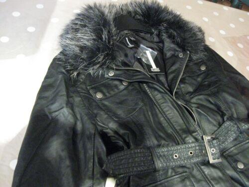 4fdafb1af2d9d3 cinturino di pelliccia ecopelle con nero Cappotto in di con morbido collo  Izabel London rimovibile 5nFcHzqRw
