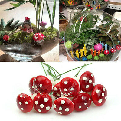 20PCS Red Foam Mushrooms On Wired Stems Fairy Garden Landscape Miniatures Craft