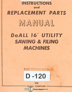 doall 16 1612 u sawing and filing machine instructions and parts rh ebay com Wildgame Innovations Manuals Instruction Manual Clip Art