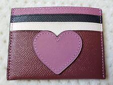 Coach Crossgrain Leather Bordeaux Card Case With Heart Motif 21108B