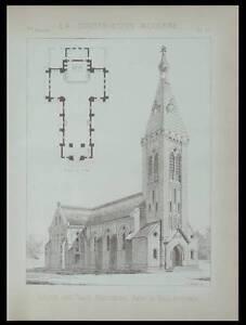 LES-TROIS-MOUTIERS-EGLISE-1891-PLANCHE-ARCHITECTURE-GEORGES-BALLEYGUIER