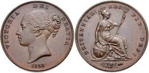 Great Britain 1858 Penny Hanover Victoria Young Head SCBC3948 NGC64 BN