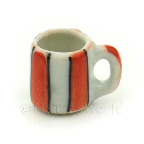 3x Casa delle Bambole Miniatura Arancione Motivo a Righe in Ceramica Tazze da Caffè