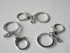 3 x 30mm SILVERTONE Split Ring with 35.5mm Lobster Clasp Key/Bag Charm