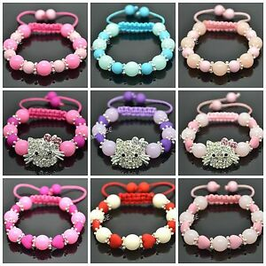 2PCS-HAND-MADE-HELLO-KITTY-STYLE-BRACELETS-WITH-ROUND-HEART-BEADS-DESIGN