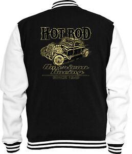 V8 Vintage Jacke Hot Sweat College American Rockabilly Racing Rod nwOxFB1Sf