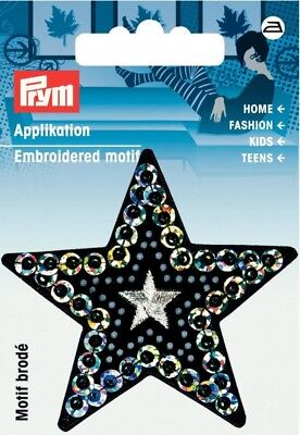 925610 Prym Iron On Embroidered Motif Applique Jeans Star with Fringe each