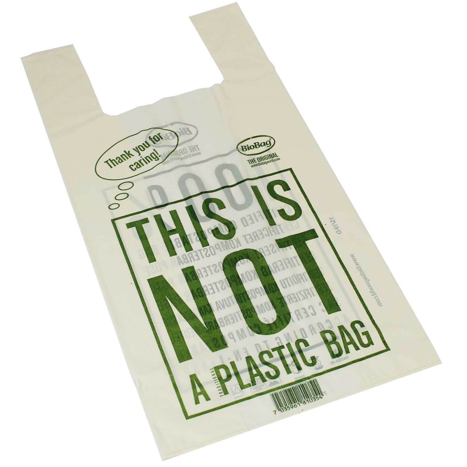 500 x Biobag Large Compostable Carrier Bags for Shops & Retailers Use