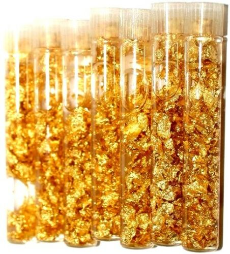 Gold Vial Of 7 Gold Flake Measuring 2 Inches Tall Perfect For Art Decoration