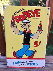 VINTAGE-034-DRINK-POPEYE-THE-SAILOR-MAN-SODA-034-12-034-PORCELAIN-METAL-GAS-OIL-SIGN-AAA