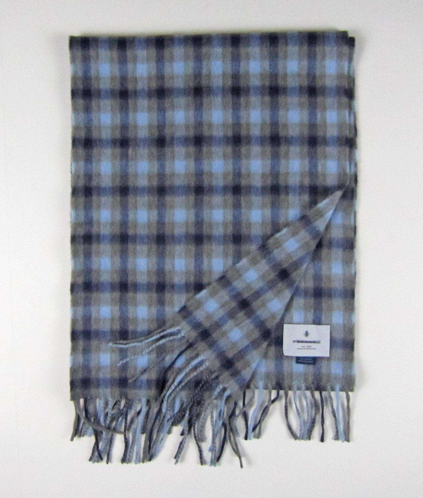 NWOT J Crew Begg & Co. wool scarf Blue Brown Made in Scotland 09605