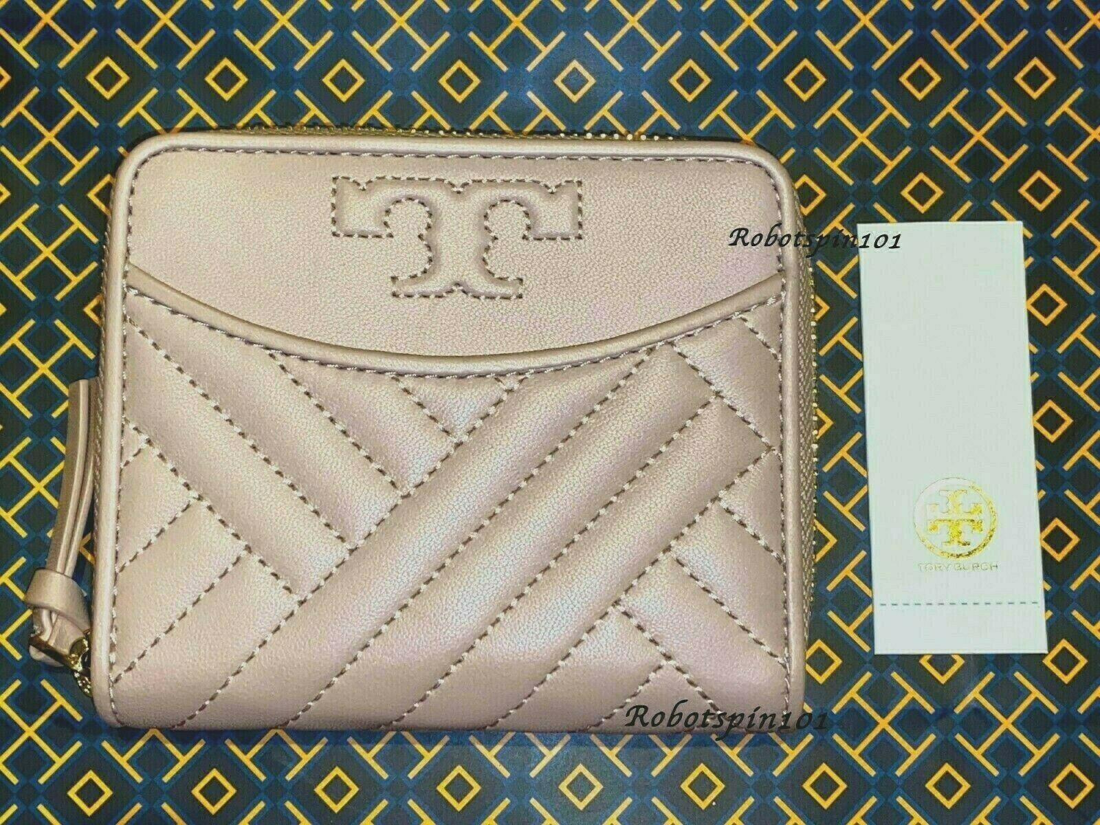 NWT Tory Burch Alexa Quilted Leather Medium Zip around Wallet Shell Pink