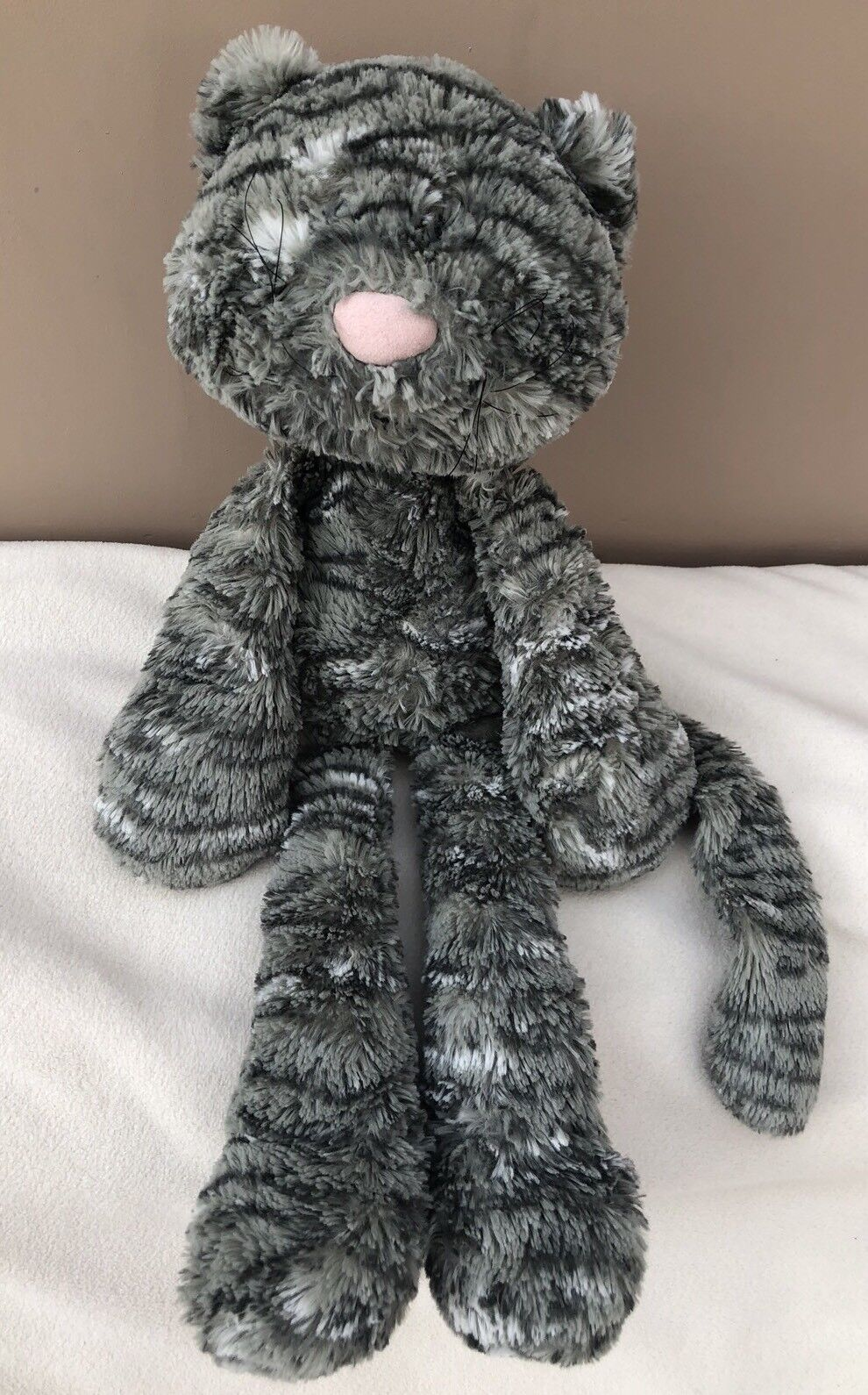 Jellycat Merryday Grey Cat With Whiskers Baby Soft Toy Comforter Rare Retired