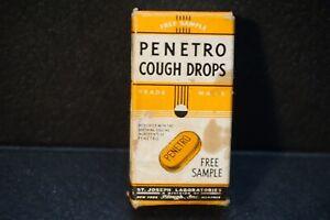 Vintage-medicine-Empty-Box-FREE-SAMPLE-PENETRO-COUGH-DROPS-St-Joseph-Labs