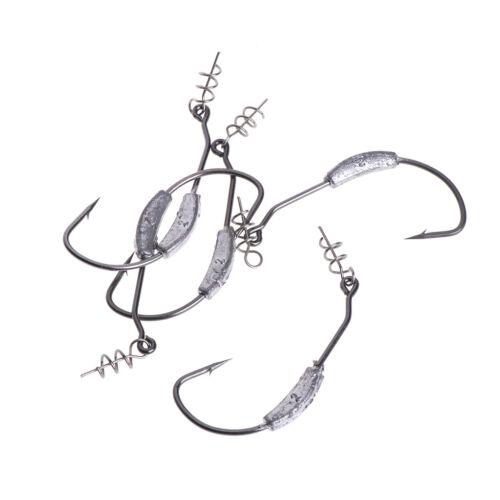 5 Pcs//Bag Fishing Hook Lead Barbed Offset High Carbon Steel Soft Worm Holder Jig