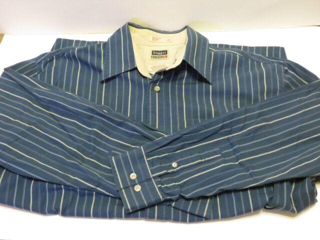 Haggar Large blue striped Men's Long sleeve dress shirt nice quality feel