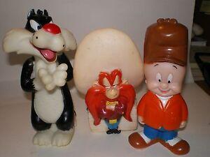 3-Vintage Rubber Baby Toys Yosemite Sam,Sylverster,Elmer Fudd- 1994 warner Bros.